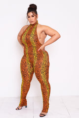 Inferno Cheetah Halter Jumpsuit
