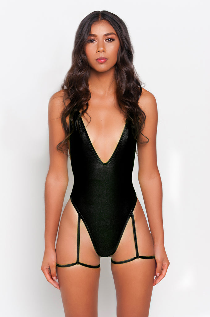 Black Gia Garter Belt One Piece