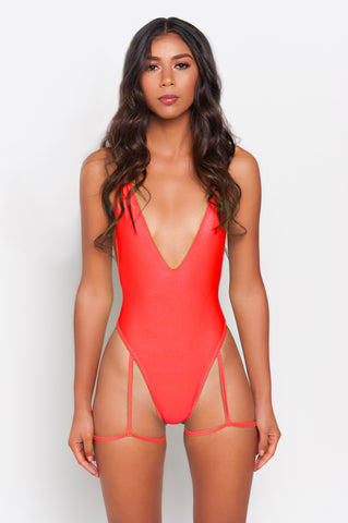 Poppy Red Gia Garter Belt One Piece