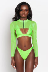 Neon Green Lia Mesh Long Sleeve Crop
