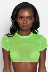 Neon Green Lia Mesh Short Sleeve Crop