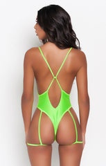 Lime Green Gia Garter Belt One Piece