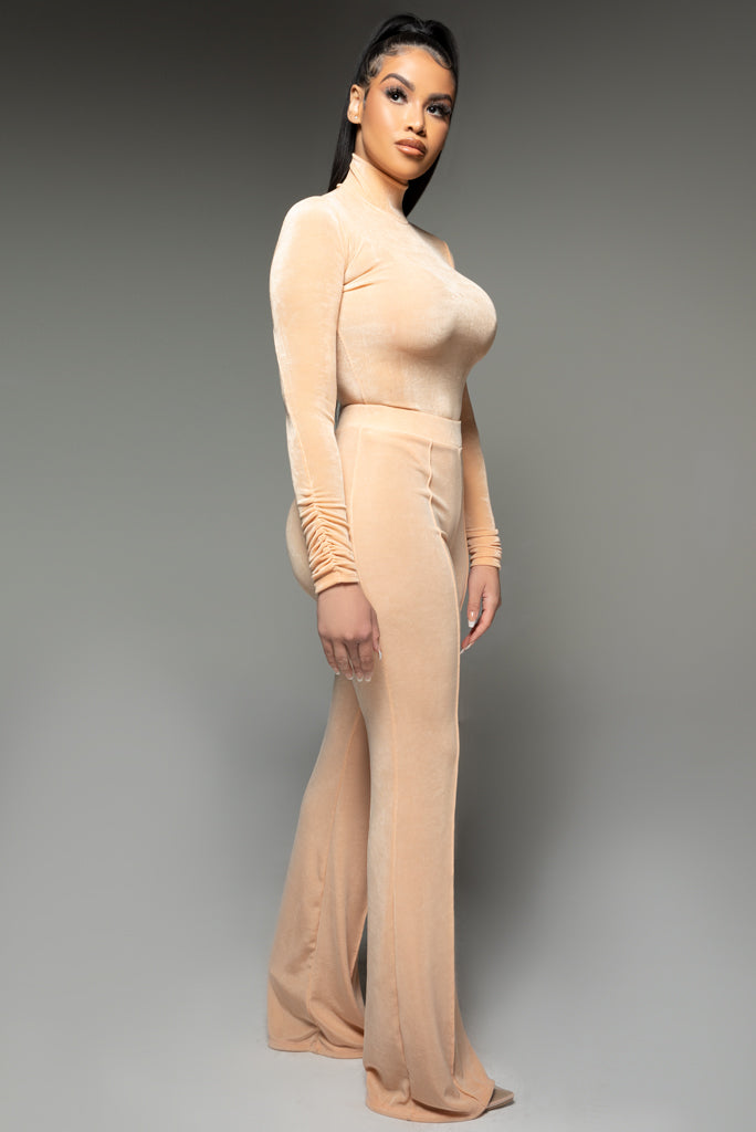 Nude High Waisted Wide Leg Trousers