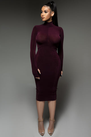 Eggplant High Neck Akira Dress