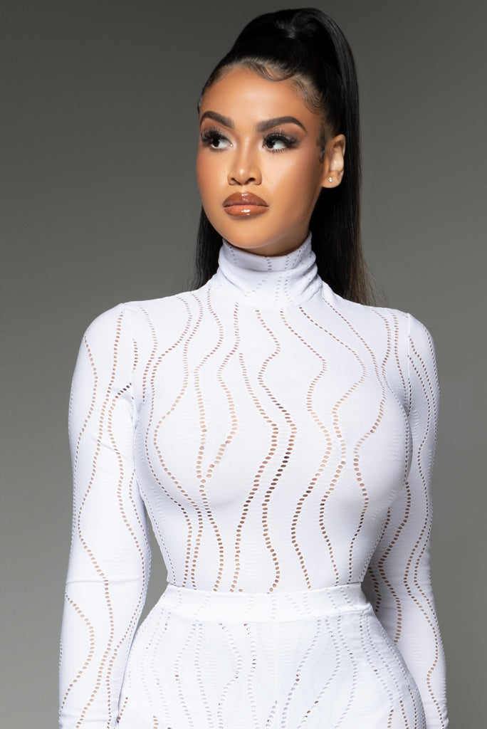 Blanc High Neck Bodysuit