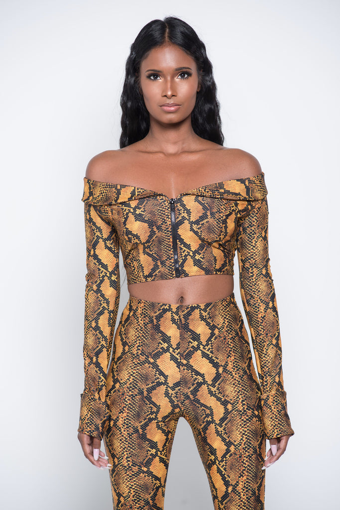 Orange RattleSnake Crop Top