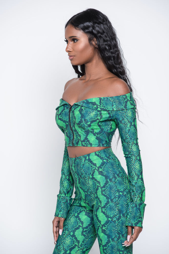 Green RattleSnake Crop Top