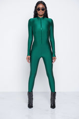 Hunter Green Zip Me Up Jumpsuit
