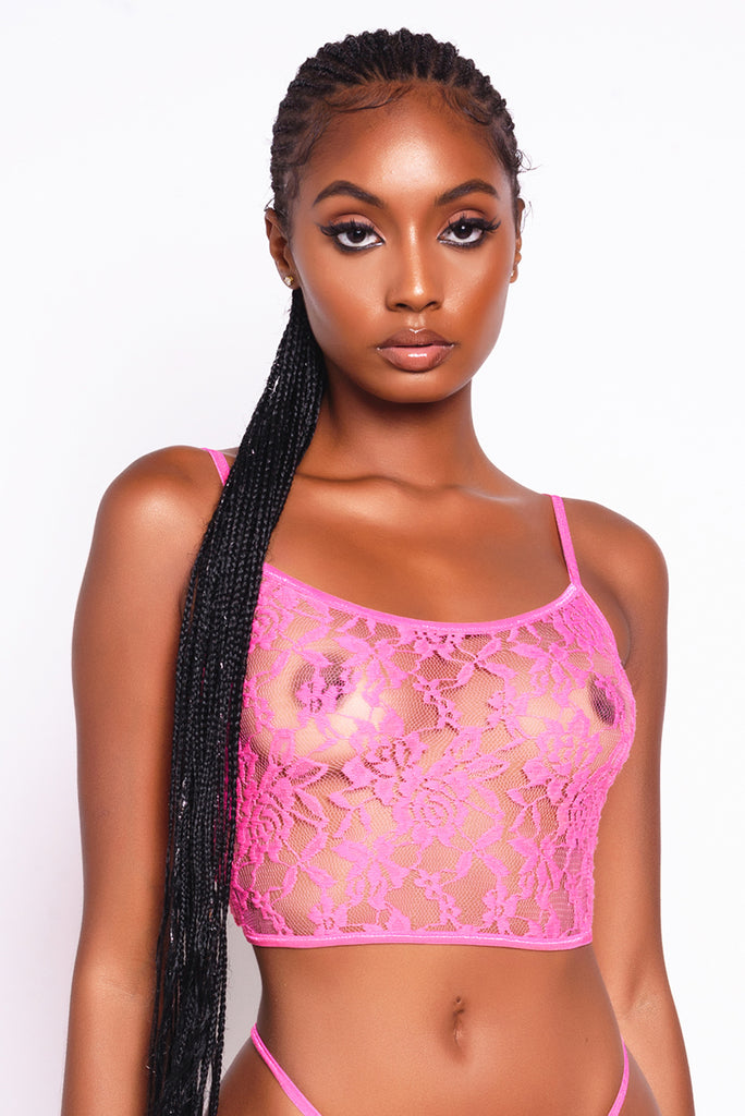 Pink Lacey Cami Top