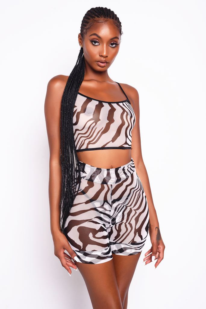 Zebra Mesh Biker Short And Thong Set