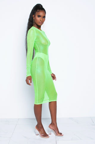 (PRE-ORDER) Electric Neon Green Mesh Dress