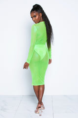 Electric Green Orange Mesh Dress
