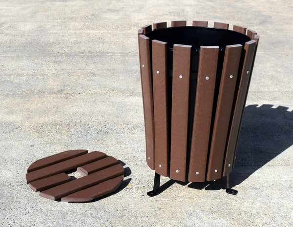 Wood Effect Round Litter Bin Bms Golf Products