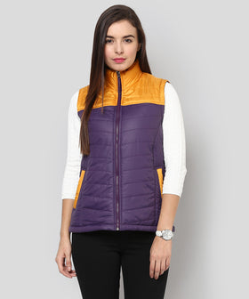 Yepme Carice Sleeveless Jacket - Purple & Mustard