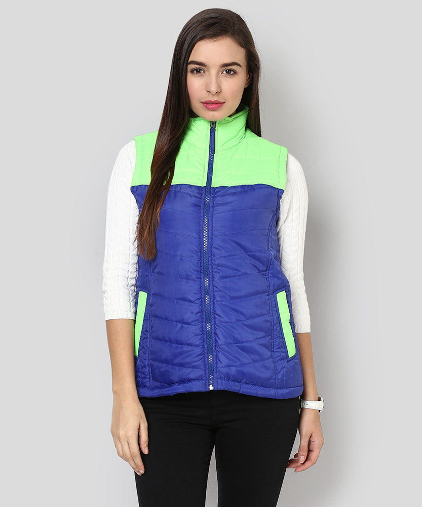 Yepme Carice Sleeveless Jacket - Blue & Green