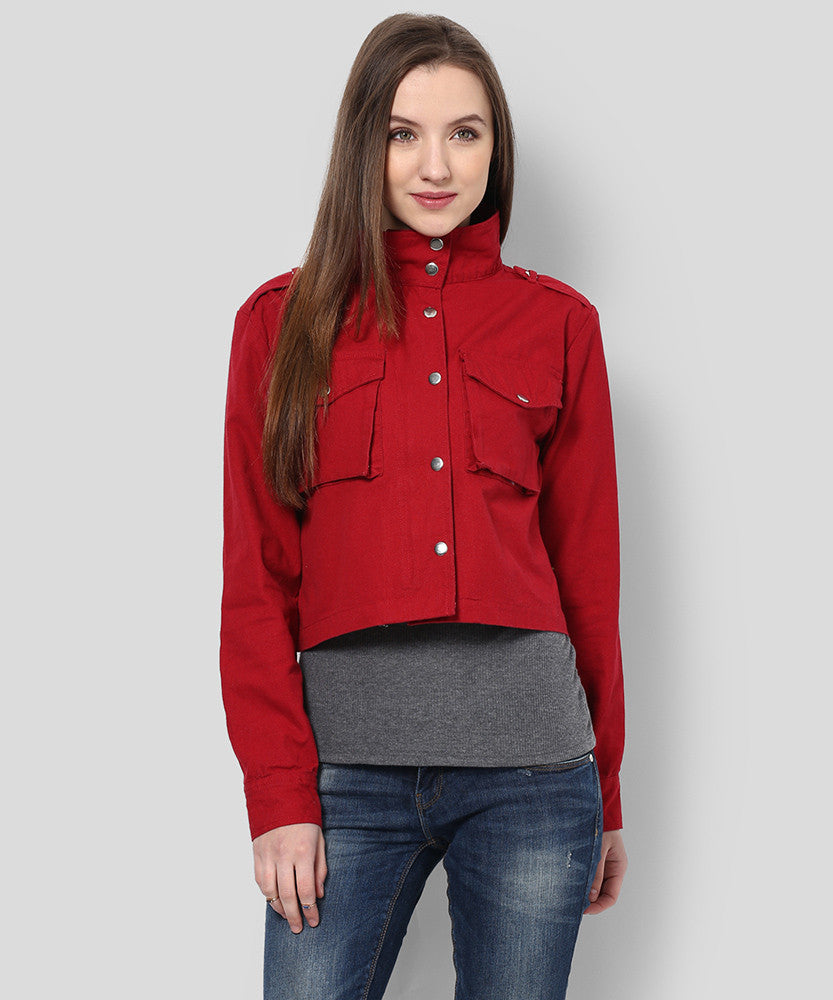 Yepme Derby Full Sleeves Jacket - Wine