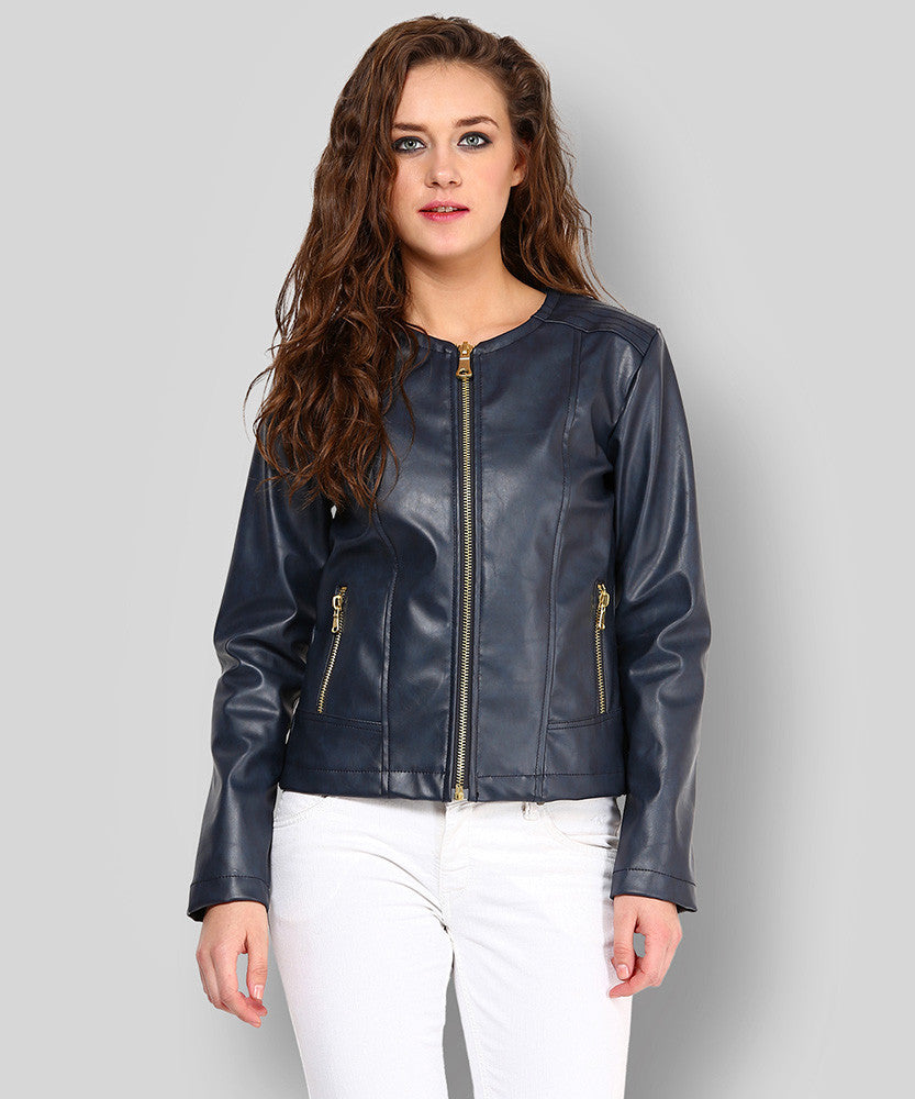 Yepme Stacy PU Leather Jacket - Blue