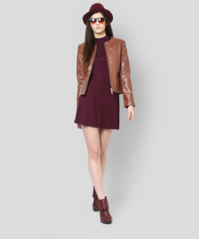 Yepme Stacy PU Leather Jacket - Brown