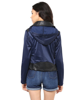 Yepme Skylar PU Leather Jacket - Black & Blue