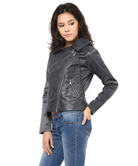 Yepme Skylar PU Leather Jacket - Grey