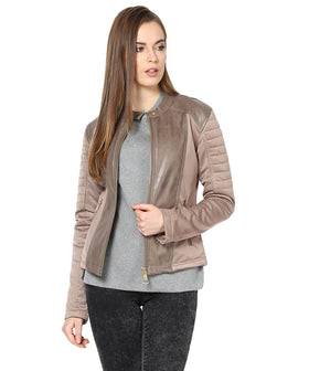 Yepme Sam PU Leather Jacket - Beige