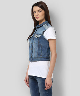 Yepme Ivana Sleeveless Denim Jacket - Dark Wash