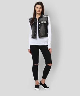 Yepme Ivana Sleeveless Denim Jacket - Black