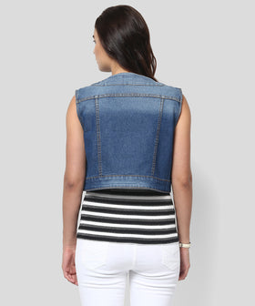 Yepme Serein Sleeveless Denim Jacket - Dark Wash