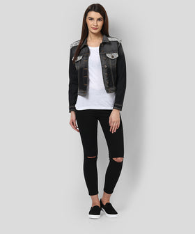 Yepme Jeanne Full Sleeves Denim Jacket - Black