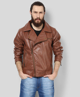 Yepme Fern PU Leather Jacket - Brown