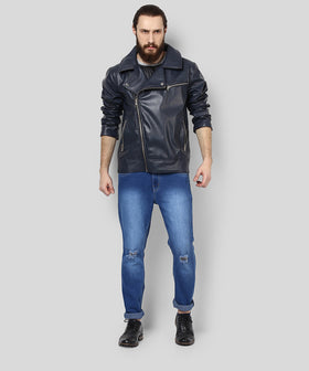 Yepme Fern PU Leather Jacket - Blue