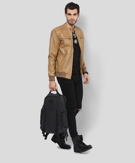 Yepme Henry PU Leather Jacket - Beige