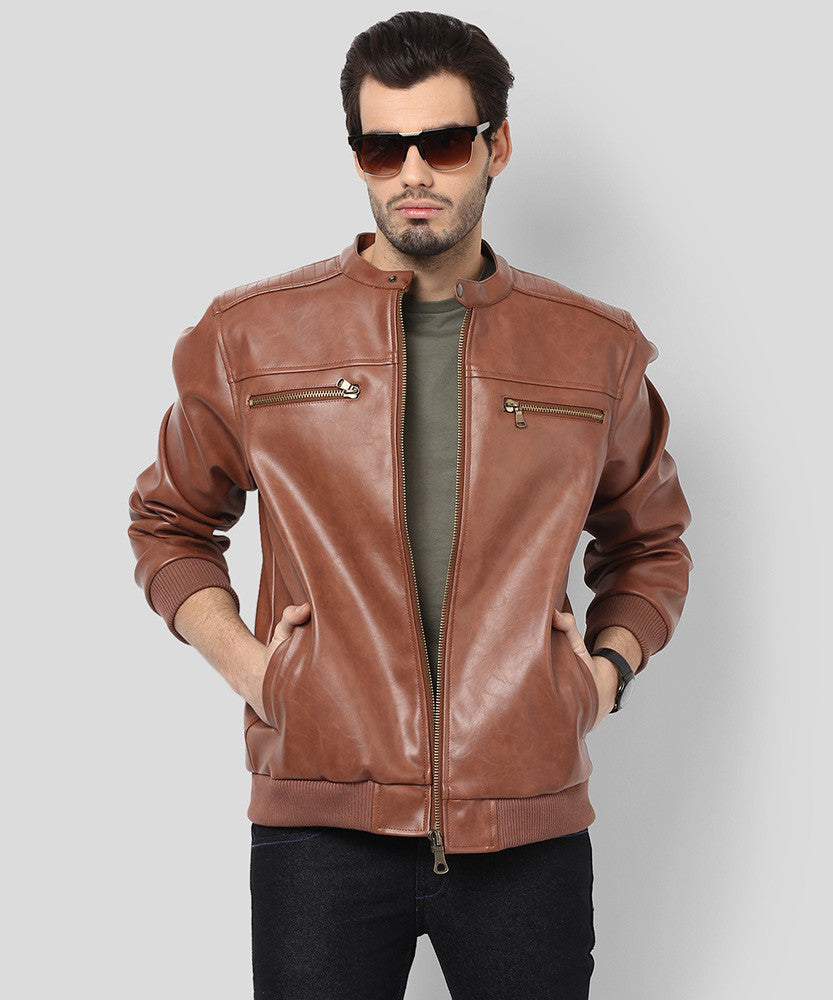 Yepme Henry PU Leather Jacket - Brown