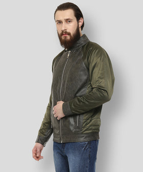 Yepme Mikael PU Leather Jacket - Green