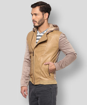 Yepme Robert PU Leather Jacket - Beige