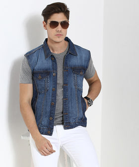 Yepme Alfredo Sleeveless Denim Jacket - Light Wash