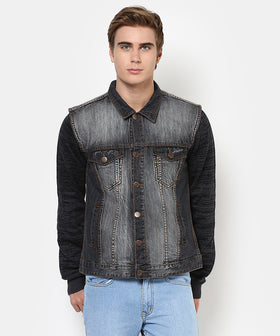 Yepme Alfredo Sleeveless Denim Jacket - Black