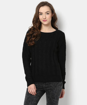 Yepme Zoey Round Neck Sweater-Black
