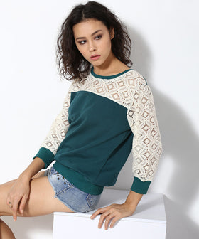 Yepme Norah Lace Sweatshirt - Green