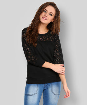 Yepme Norah Lace Sweatshirt - Black