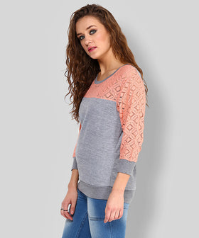 Yepme Norah Lace Sweatshirt - Grey