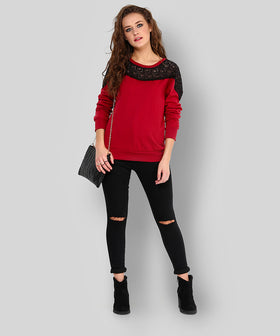 Yepme Jess Lace Sweatshirt - Red
