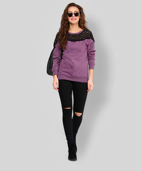 Yepme Jess Lace Sweatshirt - Purple