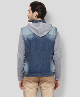 Yepme Phelps Hoodie Denim Jacket-Medium Blue Wash