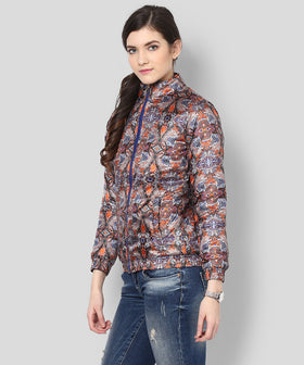Yepme Amyra Printed Bomber Jacket - Orange & Grey