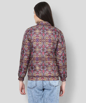 Yepme Amyra Printed Bomber Jacket  - Purple