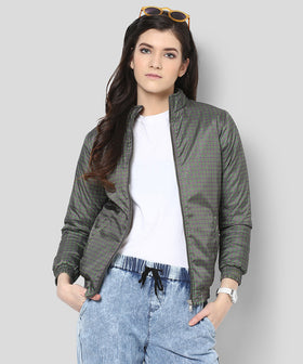 Yepme Lesly Printed Bomber Jacket - Green