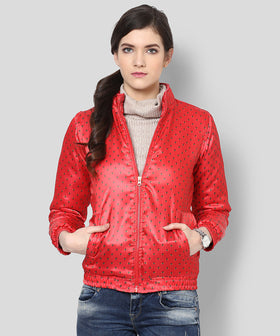 Yepme Lesly Printed Bomber Jacket - Red