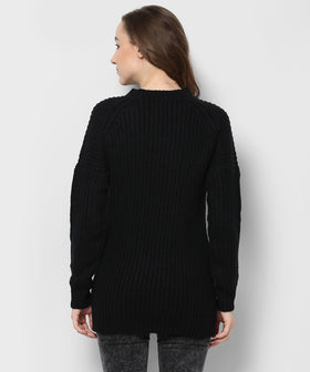 Yepme Denise Round neck Sweater-Black