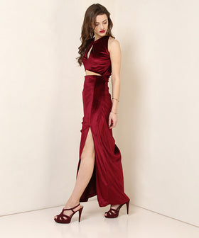 Yepme Lucilly Party Dress - Maroon